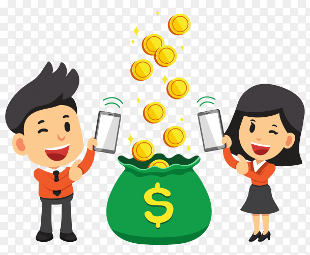 Cartoon business man and woman earning money with smartphone on transparent background PNG
