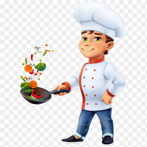 Cartoon character Little chef Illustration on transparent background PNG