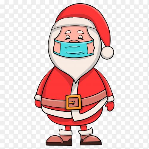 Cartoon Santa Claus wearing face mask premium vector PNG