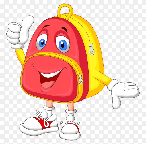 Cartoon school bag isolated on transparent background PNG