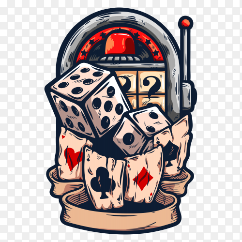 Casino roulette with dices and playing cards illustration on transparent background PNG