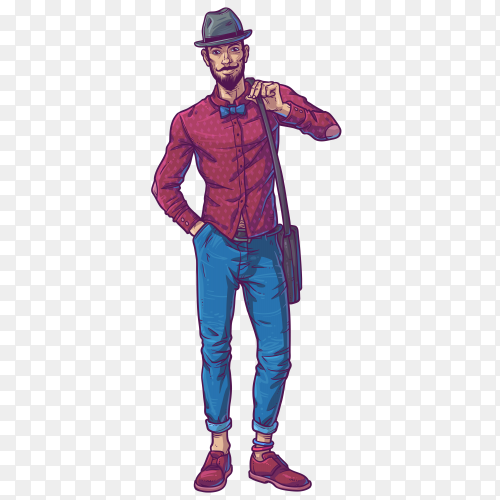 Casual man illustration on transparent background PNG