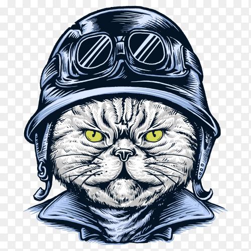 Cat wearing helmet illustration on transparent background PNG