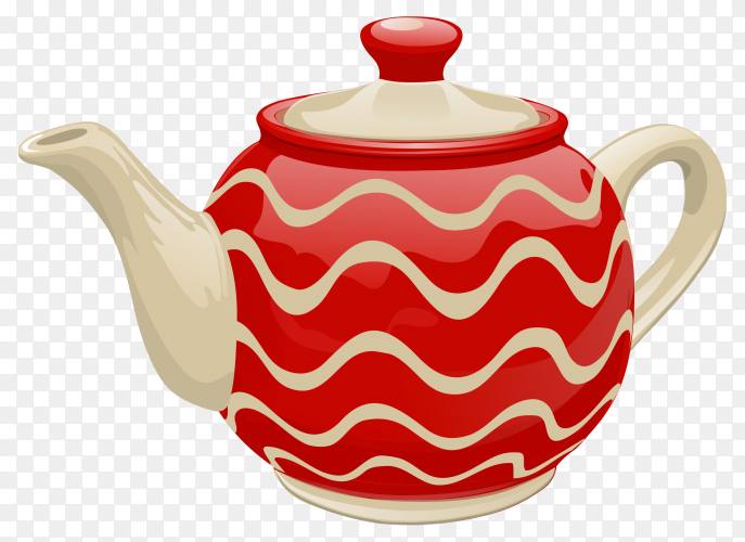 Ceramic Red teapot on transparent background PNG