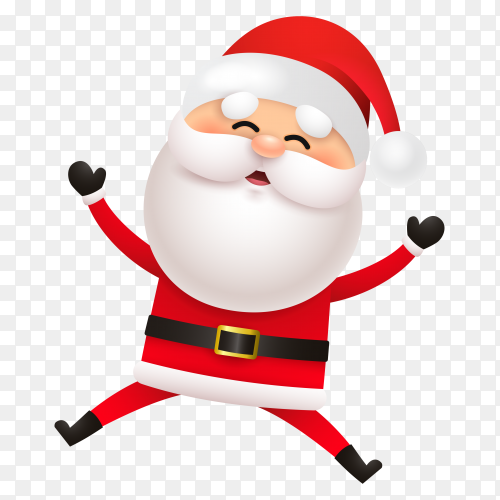Cheerful santa claus jumping on transparent background PNG