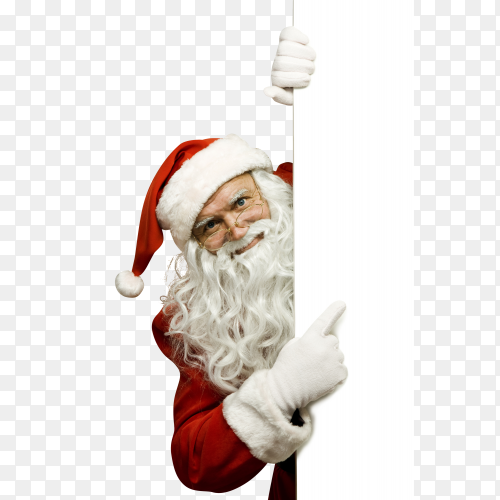 Cheerful Santa Claus on transparent background PNG