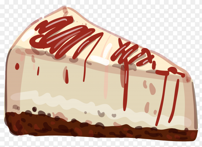 Cheese cake illustration on transparent background PNG