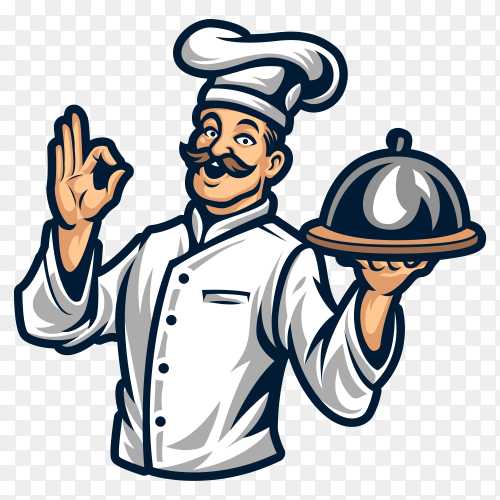 Chef Cartoon Logo on transparent background PNG