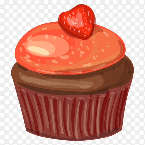 Chocolate cupcake with strawberrie on transparent background PNG