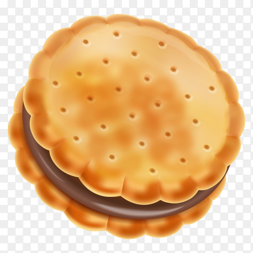 Chocolate sandwich cookie on transparent background PNG