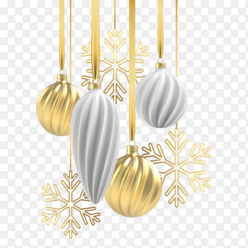 Christmas Design with christmas tree toys of white and gold, a spiral balls and snowflakes on transparent background PNG