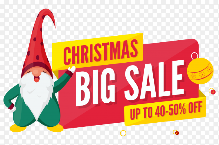 Christmas big sale poster discount offer and cartoon gnome character on transparent background PNG
