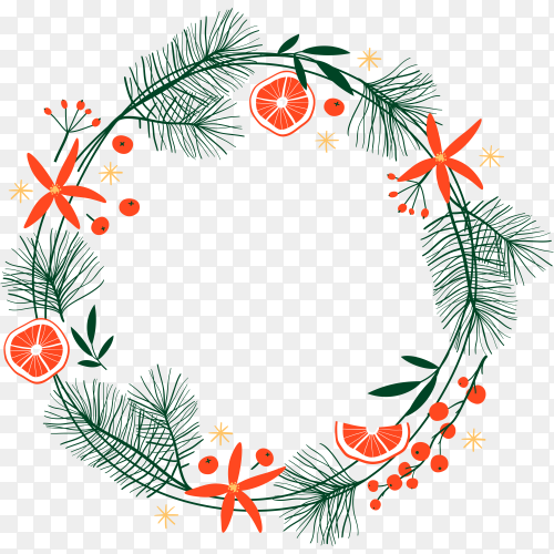Christmas card with beautiful hand drawn wreath on transparent background PNG