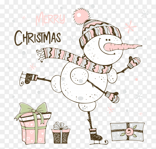 Christmas card with cute snowman and gifts on transparent background PNG