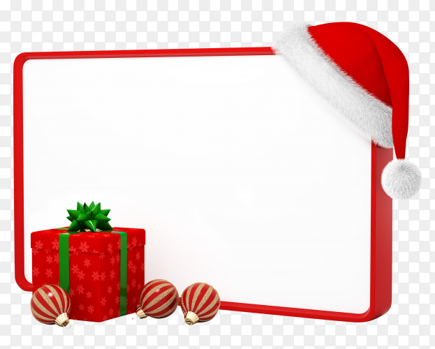 Christmas gift and Santa Claus hat on transparent background PNG