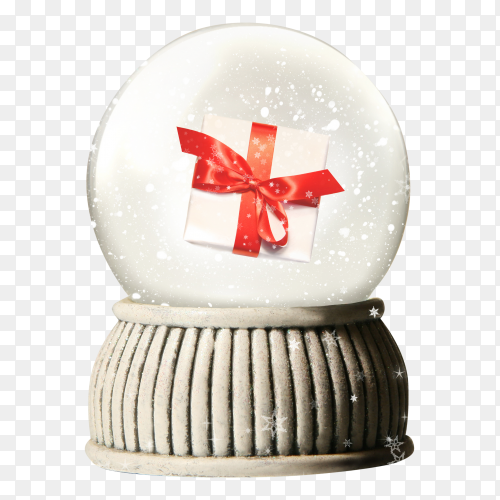 Christmas snowglobe with gift on transparent background PNG