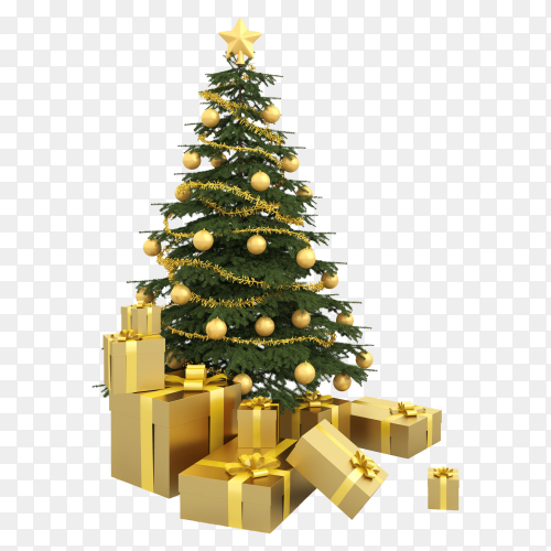 Christmas tree and box gifts on transparent background PNG