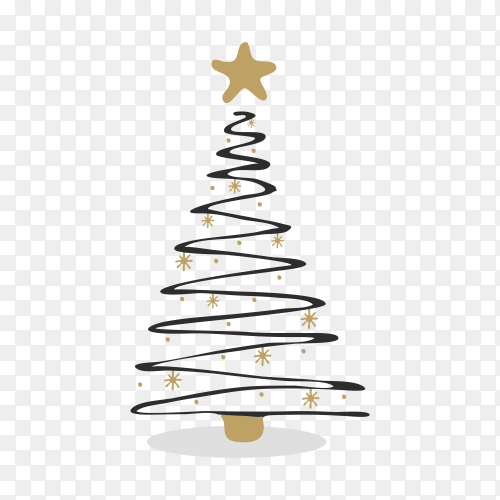 Christmas tree illustration on transparent background PNG