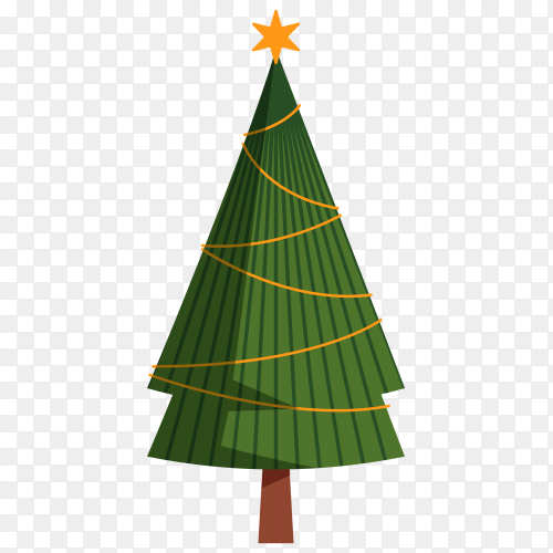 Christmas tree isolated illustration Premium vector PNG