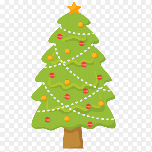 Christmas tree isolated illustration on transparent PNG