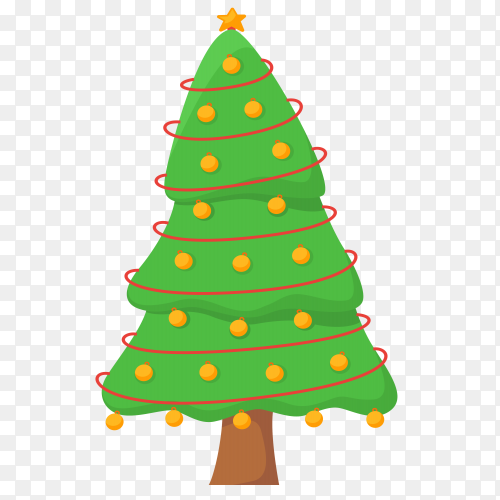 Christmas tree isolated illustration on transparent background PNG