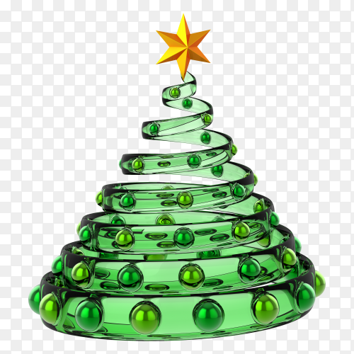 Christmas tree new years eve glass decoration with balls bauble on transparent background PNG