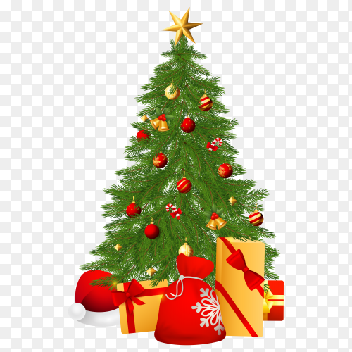 Christmas tree with decorations and different gifts on transparent background PNG