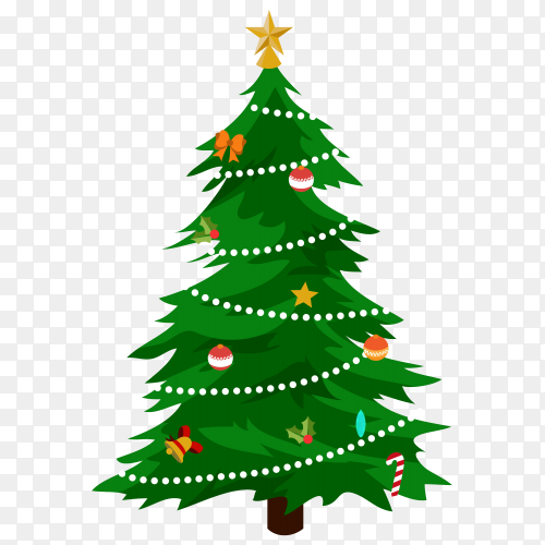 Christmas tree with decorations on transparent PNG
