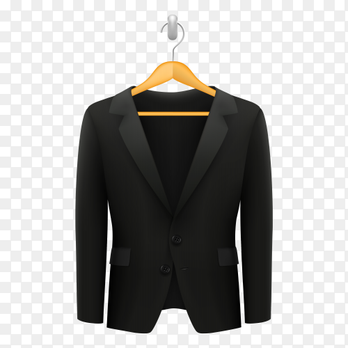 Class black suit hangs on the peg on transparent background PNG