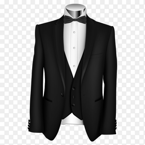 Classic black suit isolated on transparent background PNG