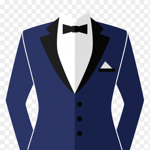 Classic tuxedo suit with bow premium vector PNG