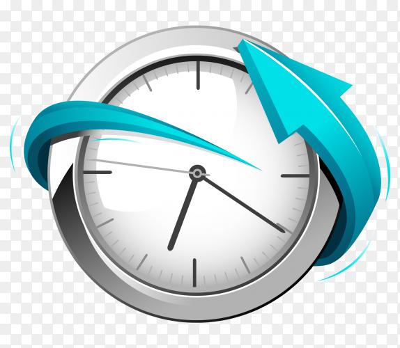 Clock with blue arrow premium vector PNG