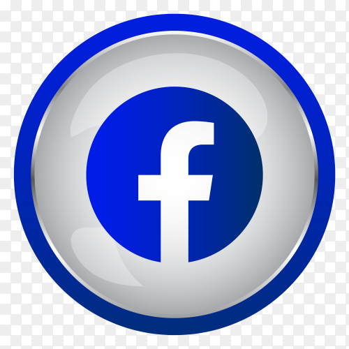 Colorful Shiny 3D Facebook icon button in Circle in transparent background PNG