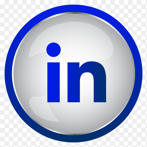 Colorful Shiny 3D LinkedIn icon button in Circle on transparent PNG