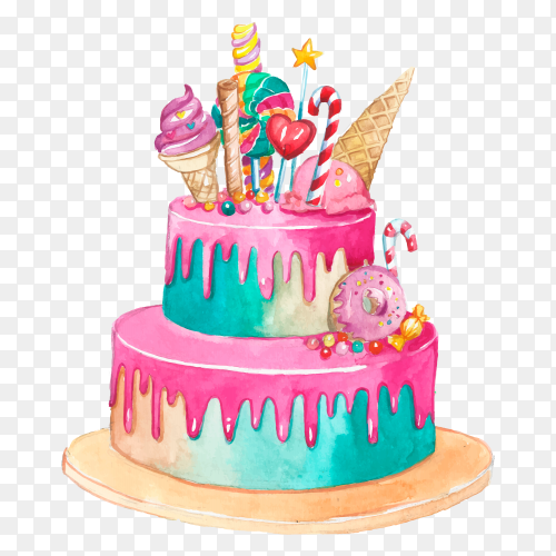 Colorful birthday cake on transparent background PNG