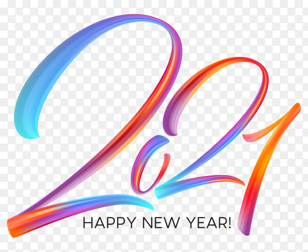 Colorful brushstroke paint lettering calligraphy of happy new year on transparent background PNG