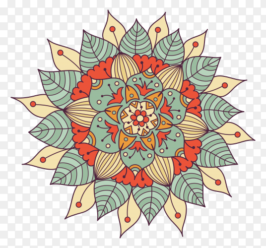 Colorful floral mandala on transparent background PNG