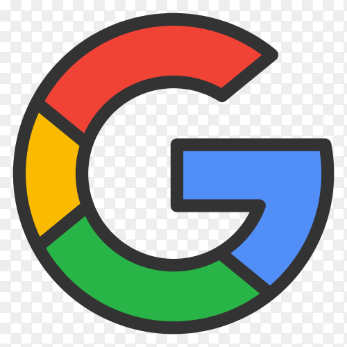 Colorful google logo design on transparent PNG