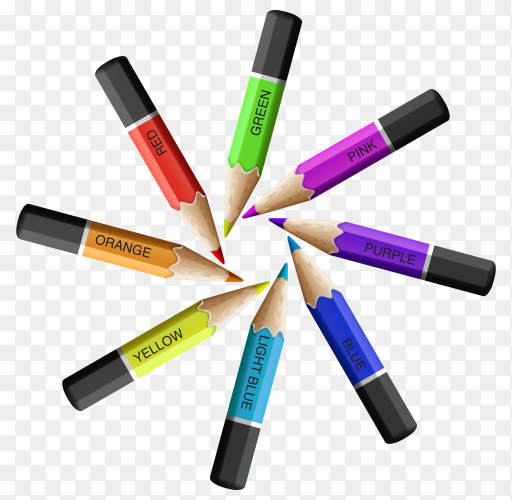 Colorful pencils arranged in a circle on transparent background PNG