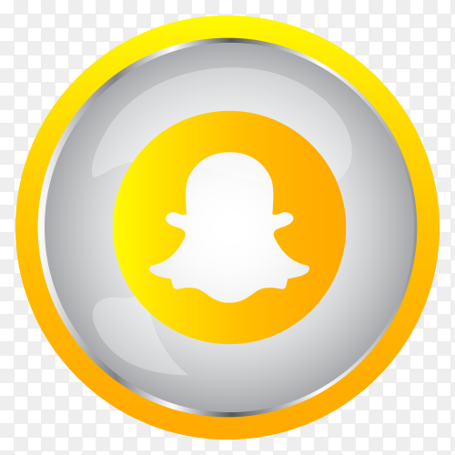 Colorful shiny 3D Snapchat  icon button in Circle on transparent PNG