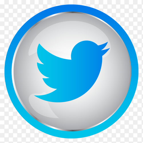 Colorful shiny 3D Twitter icon button in Circle on transparent background PNG