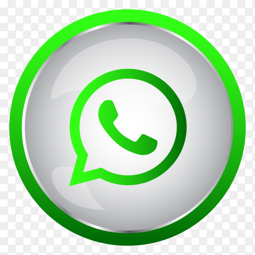 Colorful shiny 3D Whatsapp icon button in Circle on transparent background PNG