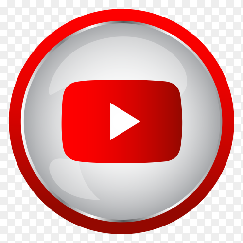 Colorful shiny 3D Youtube icon button in Circle Clipart PNG