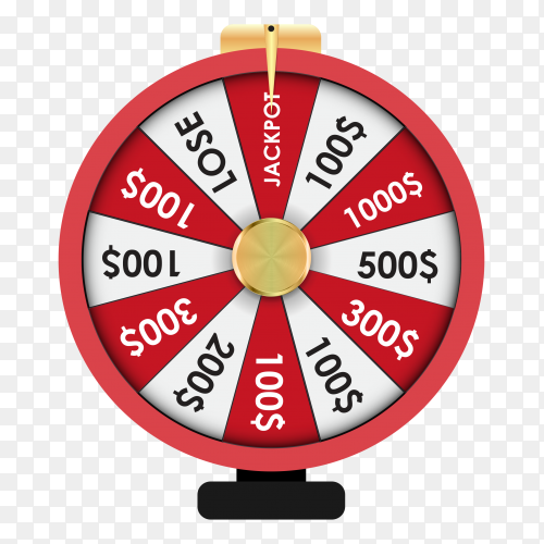 Colorful wheel of luck or fortune on transparent background PNG