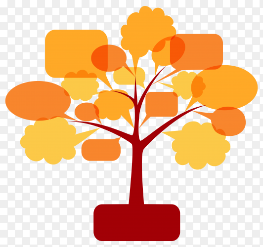 Conceptual symbols of the forum or chat ,the tree of speech bubbles on transparent background PNG