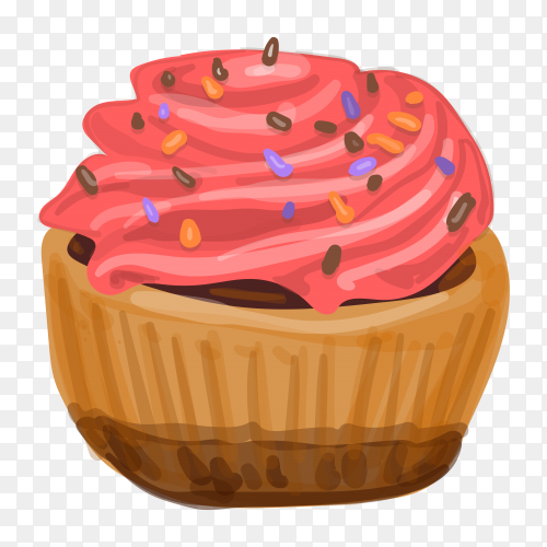 Cupcake with pink whipped cream on transparent background PNG