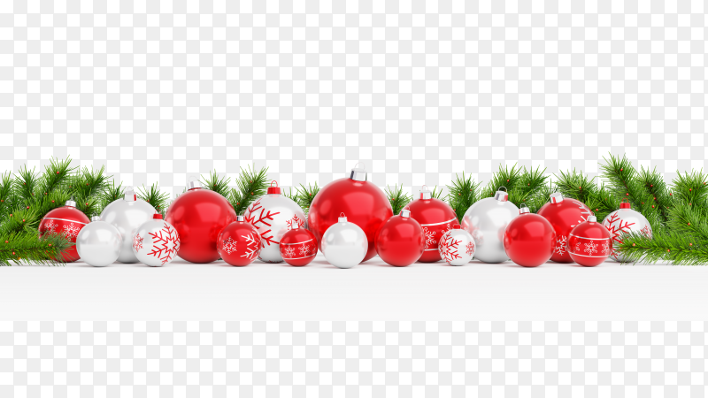Cut out red and white Christmas balls on transparent background PNG