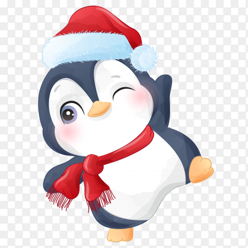 Cute Penguin wearing Santa Claus hat premium vector PNG