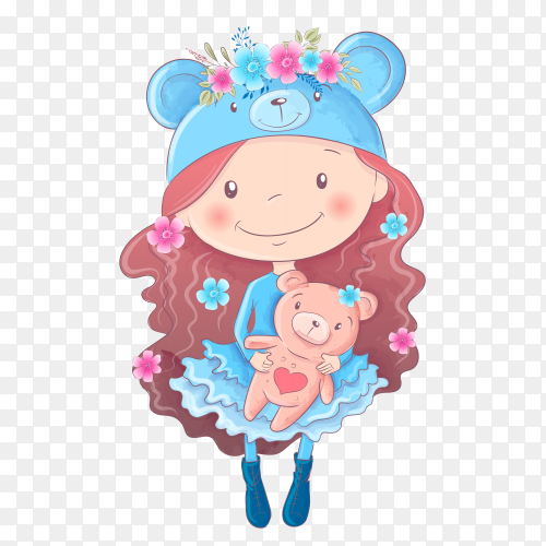 Cute cartoon girl hand drawing illustration premium vector PNG