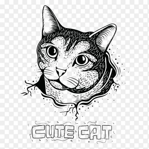 Cute cat illustration on transparent background PNG